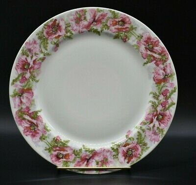 """Jean Pouyat JPL France Limoges Pink & Red Poppies 9 3/4"""" Dinner Plate"""