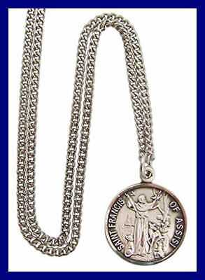 9a7837be16c STERLING SILVER Catholic Patron Saint Francis Of Assisi Round Medal Penda  Silver