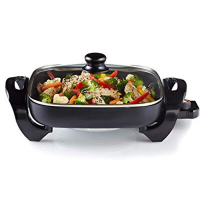 "Continental Electric Frying Pan with Glass Lid Cover 15"" x12"" Non-Stick Cooking"