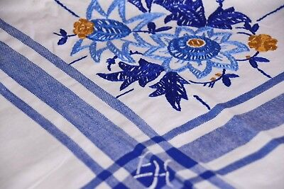 Old Tablecloth Hand Embroidered Handmade Flower Blue Edge 130 x 160 CM