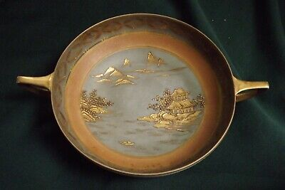 ANTIQUE H. Painted.Nippon MORIMURA MARK #47 Moriage Scenic Footed Handled Bowl