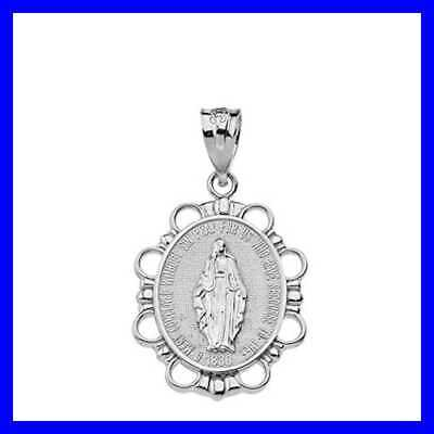 Fine 925 STERLING SILVER Miraculous Medal Of Blessed Virgin Mary Pendan Silver