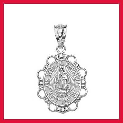 STERLING SILVER Religious Our Lady Of Guadalupe Miraculous Mary Medal Oval Penda
