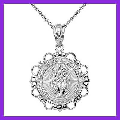 925 STERLING SILVER Miraculous Medal Of Blessed Virgin Mary Round Pendant Neckla