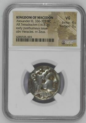"NGC Greek Silver Tetradrachm ALEXANDER III The Great, 4th Century BC ""VERY GOOD"""