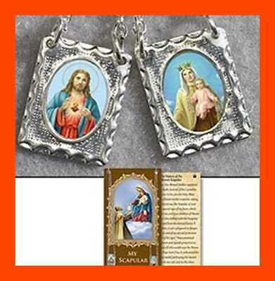 "Metal Scapular 5/8"" Medal Sacred Heart Of Jesus & Our Lady Mount Car SILVER Tone"