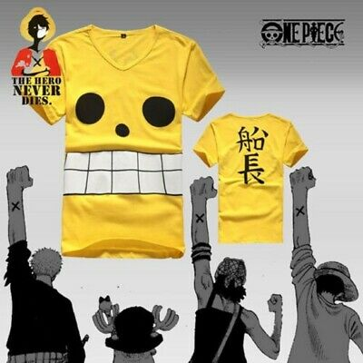 anime One Piece skipper T-shirt,Cosplay cotton T-shirt Yellow