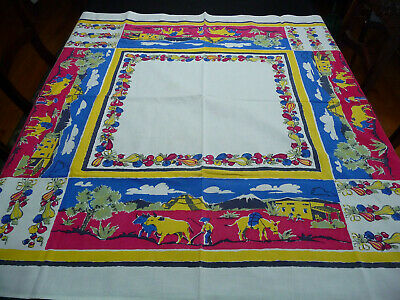 Vintage Cotton Print Southwest/Mexican Motif Tablecloth