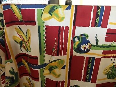 "vintage tablecloth, Mexican theme, 50"" x 54"", perfect"