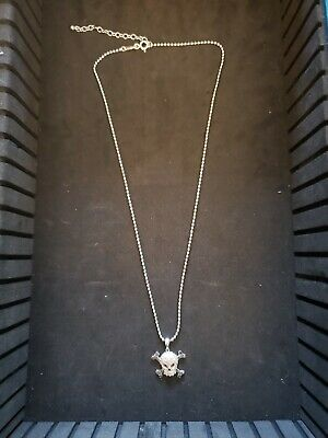 Skull & Crossbones Sterling Silver Clear & Black Cz Necklace 16-18""