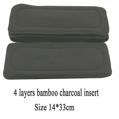 Reusable 5 Layers Soft Bamboo Fiber Charcoal Cloth Diaper Nappy Inserts 14*33cm