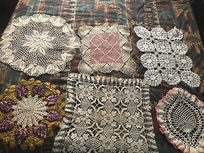 Lot of 6 Vintage Larger Lace Doilies Hand Made Antique Crochet Embroidered