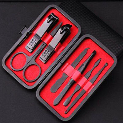 7 Pcs Stainless Steel Nail Clipper Set Grooming Kit Tool Case Manicure Pedicure