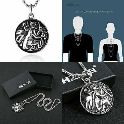 Saint Christopher Necklace Stainless Steel Catholic Patron St Medal Penda Silver