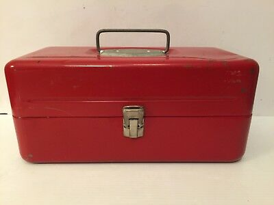 Vtg Victor Red Metal Fishing Tackle Box Atco Lititz Pa Usa Lures