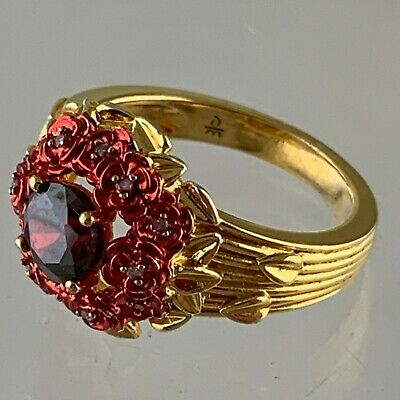 Antique Victorian Style Gold Plated Red Enamel Flower Rhinestone Ring Size 8