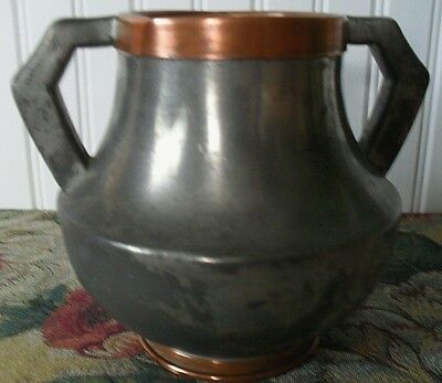 OLD ARTS & CRAFTS*MISSION*worn silverplated pewter*COPPER BANDS~URN HANDLED VASE