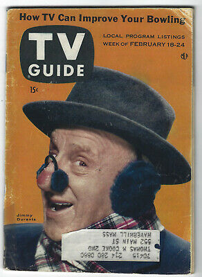 1956 TV GUIDE - JIMMY DURANTE - BOWLING - panel shows