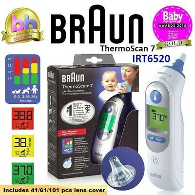 BRAUN Thermoscan 7 IRT6520 Baby Digital Ear Thermometer LCD+41/61/101 Lens Cover