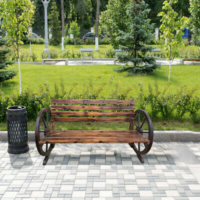 Stylish Garden Brunt Wooded Wagon Wheel 2 Seater Bench Outdoor Patio Furniture