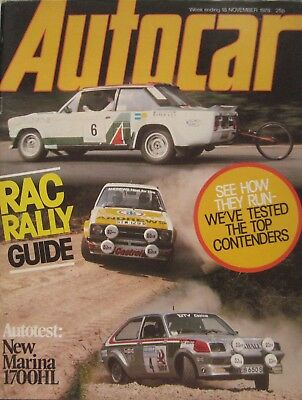 Autocar magazine 18/11/1978 featuring Morris Marina road test, Lombard RAC Rally