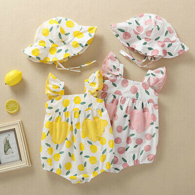 2PCS Newborn Infant Baby Girls Romper Bodysuit Jumpsuit Sunsuit Clothes Outfits