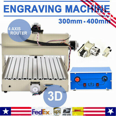 4 AXIS 3040 ROUTER ENGRAVER DRILLING MILLING wood 3D CUTTER MACHINE desktop 400W