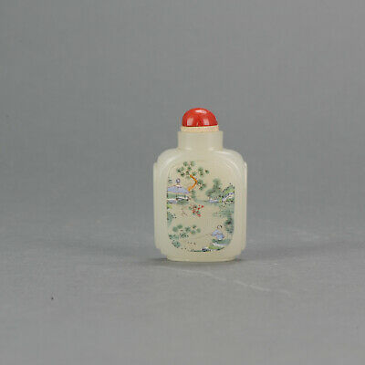 Vintage 20th cChinese Snuff Inside Painted landscape and Calligraphy