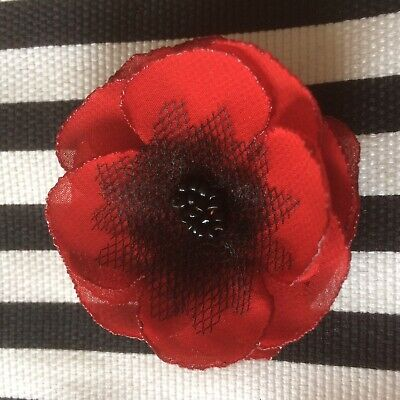 Scarlet Red Fabric Poppy Flower Sew On Embellishments Appliqué Remembrance Day