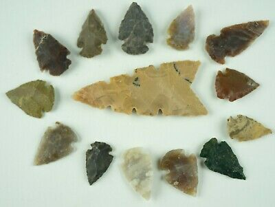 "14 PC Flint Arrowhead Ohio Collection Points 1-3"" Spear Bow Stone Hunting 1538"