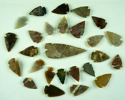 "26 PC Flint Arrowhead Ohio Collection Points 1-3"" Spear Bow Stone Hunting 1540"