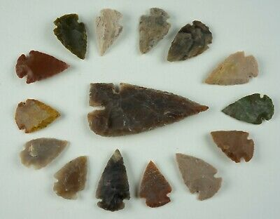"15 PC Flint Arrowhead Ohio Collection Points 1-3"" Spear Bow Stone Hunting 1541"