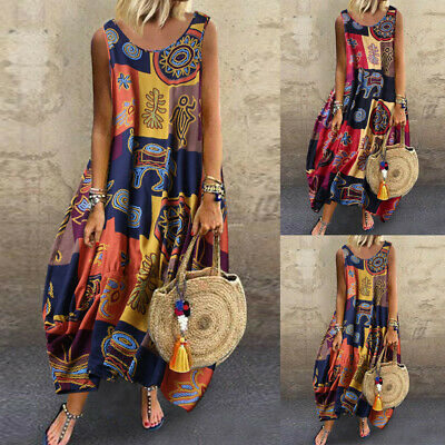 Womens Vintage Boho Print Linen Loose Floral Sleeveless O-Neck Straps Maxi Dress