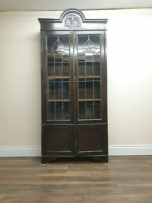 Antique Solid Oak Glazed Bookcase/ Cabinet