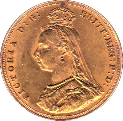 1887 Queen Victoria Jubilee Gold Full Sovereign London Mint - Extremely Fine