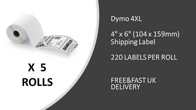 """5 x S0904980 DYMO Compatible 4XL Shipping Labels 104x159mm 4""""x6"""" FRAME INCLUDED"""
