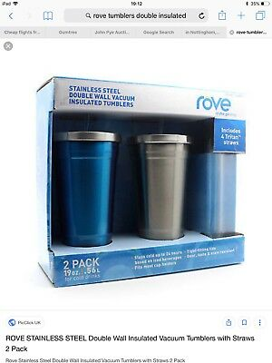 148ca0454b6 ROVE DOUBLE WALL tumbler Drinking to go cup stainless steel base BPA ...