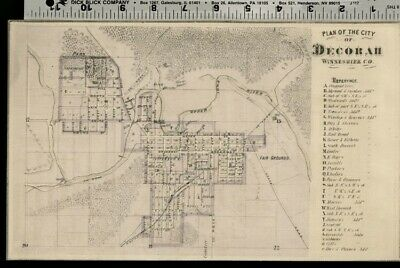 Decorah Iowa Street Map / Plan (Winneshiek County); Authentic 1875 Item