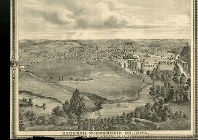 Decorah, Iowa Bird's Eye Town VIEW (Winneshiek County) Authentic 1875 Item