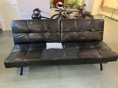 Sienna Black Faux Leather Click Clack 3 Seater Small Double Sofa Bed