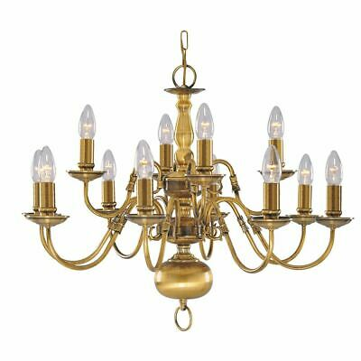 Searchlight FLEMISH CHADELIER LIGHT FOR SALE ANTIQUE BRASS FITTING 1019-12AB