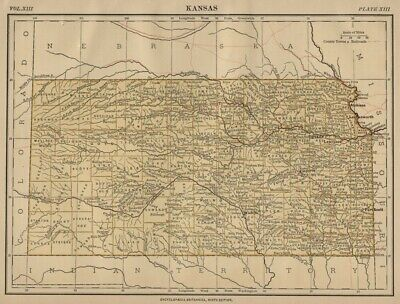 Kansas: Authentic 1876 Map: Counties, Cities, Topography, RRs: W & AK Johnston