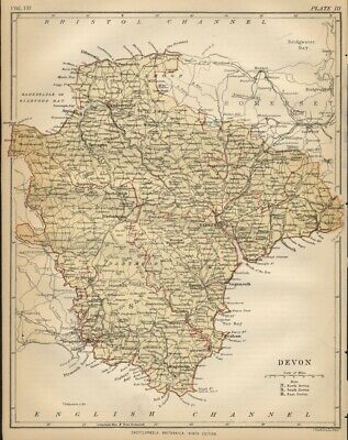 Devon County England: Detailed 1889 Map showing Town; Cities & Railroads