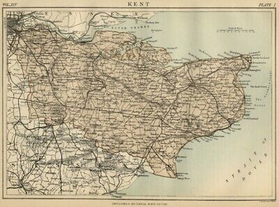 Kent County England: Detailed 1889 Map showing Towns; Cities & Railroads