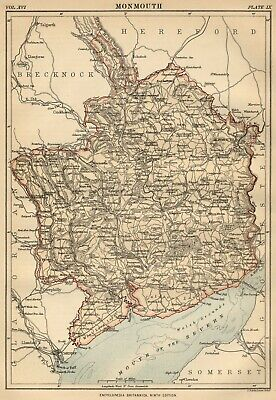 Monmouth County Wales: Detailed 1889 Map showing Towns; Cities & Railroads