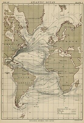 Atlantic Ocean: Authentic 1889 Map showing Major Currents: Winter & Summer