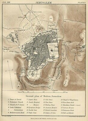 Jerusalem City Map / Plan: Authentic 1889 Map showing Landmarks and Topography