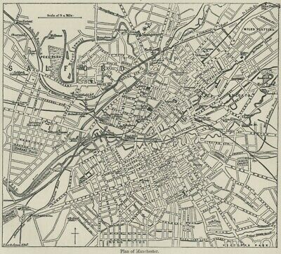 Manchester England City Map/Plan: Authentic 1889 Map including MU's Old Trafford