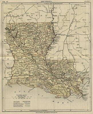 Louisiana: Authentic 1889 Map showing Counties, Cities, Topography, Railroads