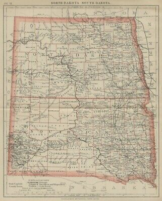 North & South Dakota: Authentic 1891 Map with Counties, Cities, Topography, RRs